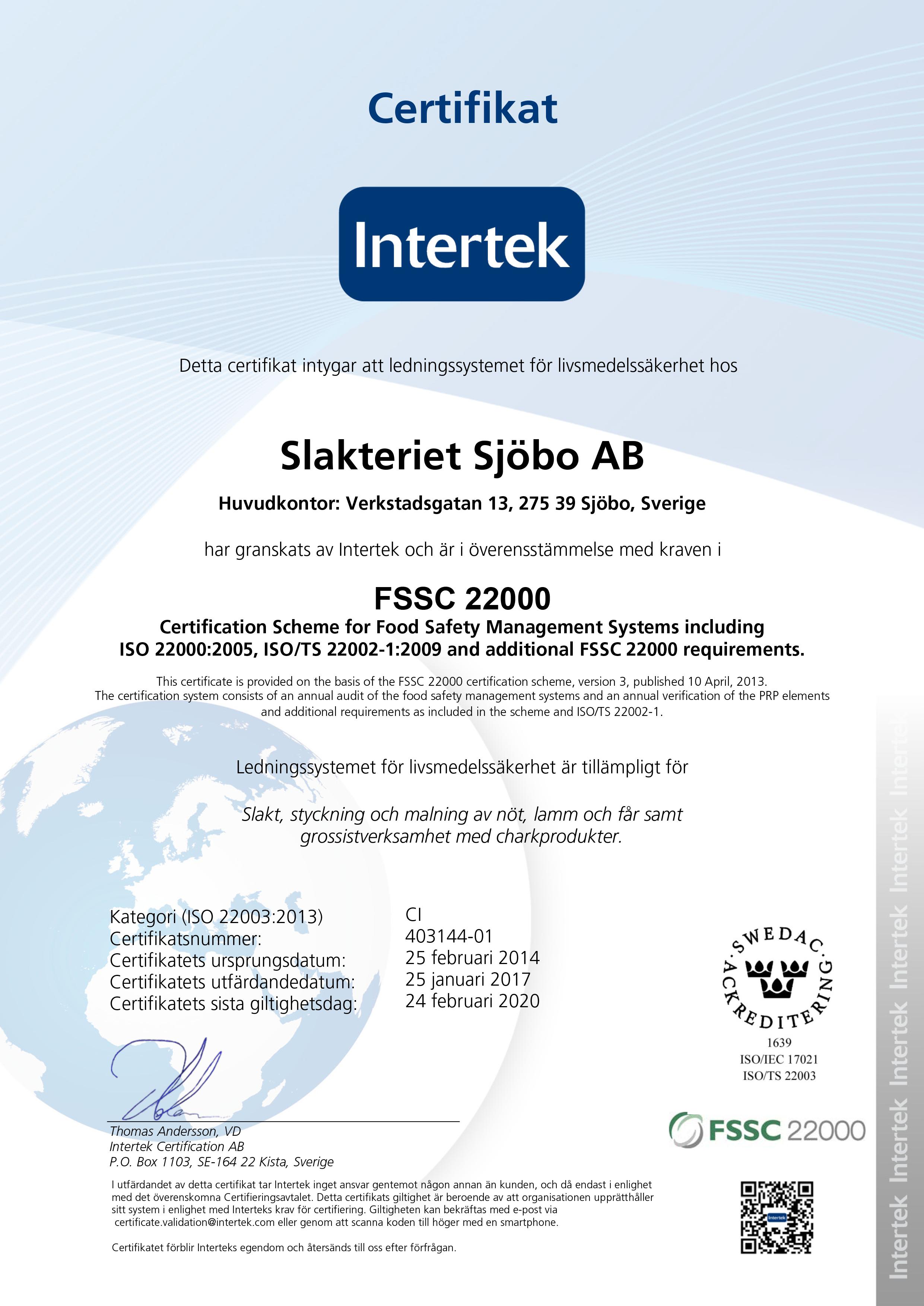 Certifikat FSSC 22000 sv 2017